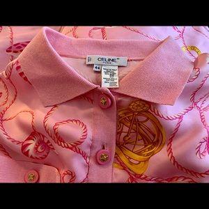 Vintage Celine Silk Polo Shirt